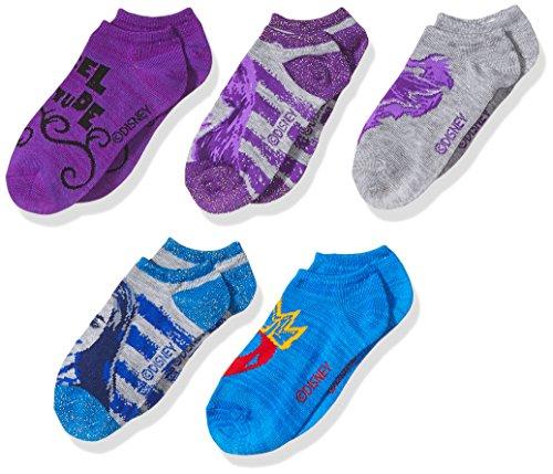 Disney girls Descendants 5 Pack No Show Socks, Assorted Purple,Fits Sock Size 9-11; Fits Shoe Size 4-10.5