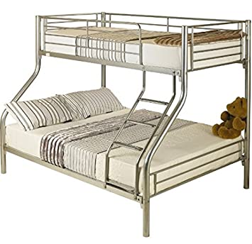 Silver Triple Sleeper Bunk Bed Comprised Of A Single Top And