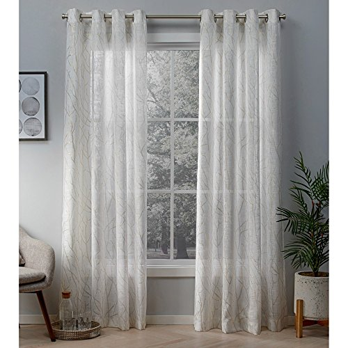 Exclusive Home Woodland Metallic Branch Sheer Linen Grommet Top Curtain Panel Pair, Winter White, Gold, 54x84, 2 Piece
