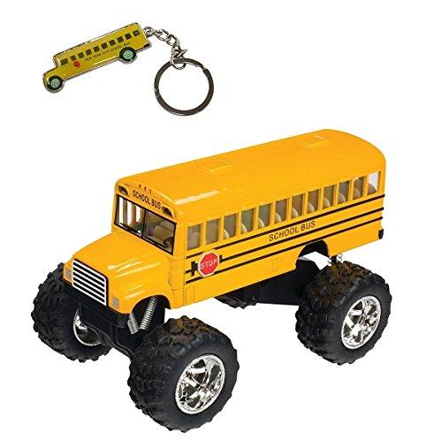 Monkey King Die Cast Big Wheel Monster Yellow School Bus 5 Inch With Bonus Keychain