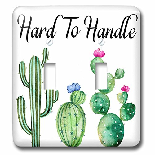 3dRose Anne Marie Baugh - Word Art - Green Watercolor Cactus With Hard To Handle - Light Switch Covers - double toggle switch (lsp_266644_2) (Cactus Cover Switch)
