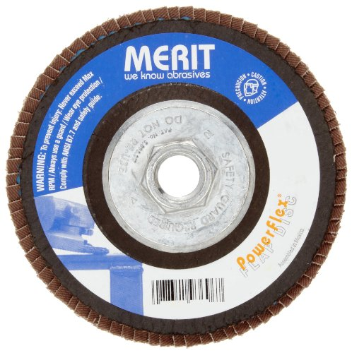 Merit Powerflex Contoured Abrasive Flap Disc, Type 29, Threaded Hole, Fiberglass Backing, Aluminum Oxide, 4-1/2