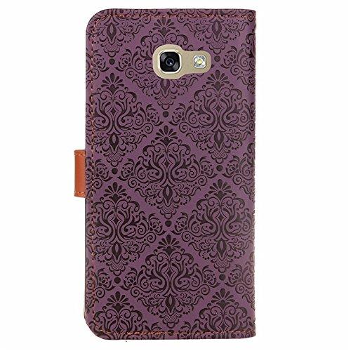 SRY Caja de la carpeta del tirón del cuero de la PU con el soporte y ranura para tarjeta con el cierre magnético para Samsung Galaxy A7 2017 ( Color : Khaki ) Purple