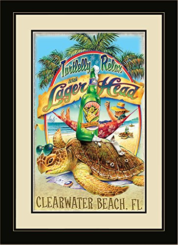 Northwest Art Mall JM-6764 MFGDM TR Clearwater Beach Florida Turtlelly Relax with Lager Head 13