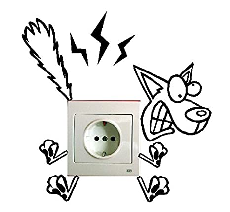 SUPER STICKER Pack 5 pcs Vinilo decorativo pegatina para interruptor - gato, esqueleto, perro, electrocutado, ref:pck2a: Amazon.es: Hogar
