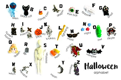 Halloween Theme ABC trinkets by TomToy for I spy bag/bottle, Language objects, 1-3cm, 26 (Halloween Theme Preschool)