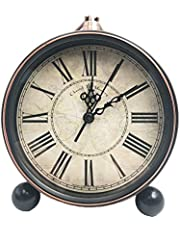 "5.5"" Classic Retro Clock,JUSTUP European Style Vintage Silent Desk Alarm Clock Non Ticking Quartz Movement Battery Operated , HD Glass Lens, Easy to Read (SZ03)"
