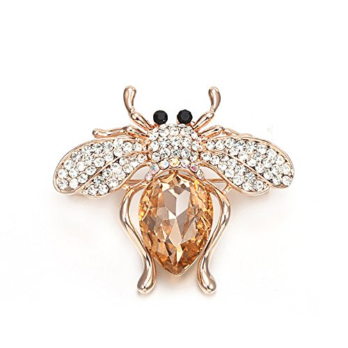 Brooches for Women,Cute Bee Brooch Pins for Girls Dazzling Rhinestone Brooch for Brides Gold Vintage Brooch with Crystal (Amber Bee) (Square Vintage Brooch)
