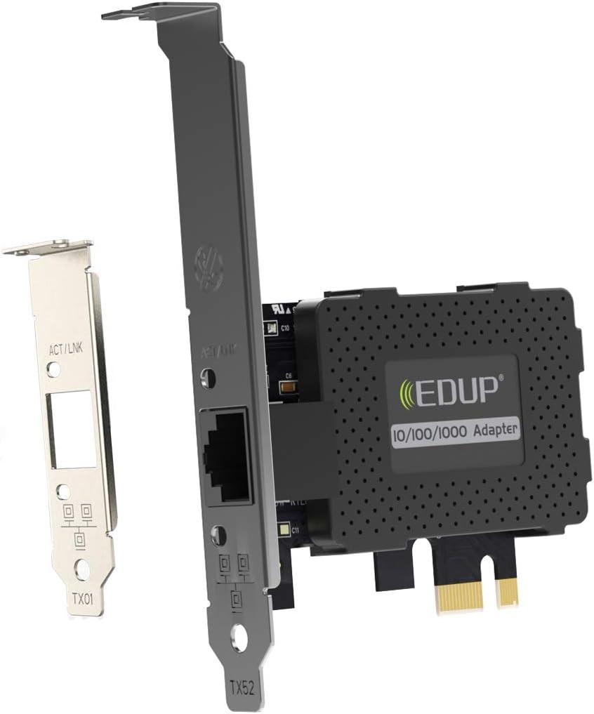 EDUP PCI Express PCIe Network Adapter Wired Card 10/100/1000Mbps RJ45 LAN Adapter Converter for Desktop PC Support Windows XP/Vista/10/8.1/8/7/2003/2000