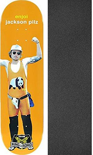 モザイクタッチ鬼ごっこEnjoi SkateboardsジャクソンPilz King of the Roadオレンジスケートボードデッキresin-7 – 8.37 X 31.7 CMでブラックマジックGriptape – 2アイテムのバンドル