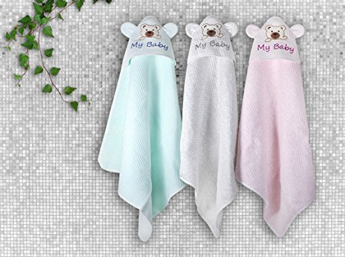 Hooded Baby Bath Towel and Washcloth - 100% Organic Cotton