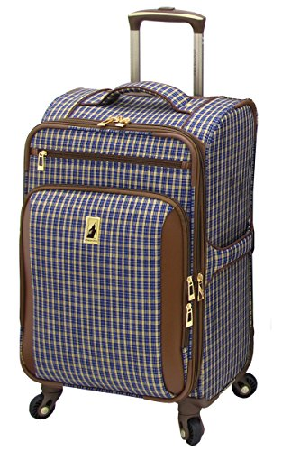 London Fog Kensington 21 Inch Expandable Spinner Carry-on, Blue Tan Plaid