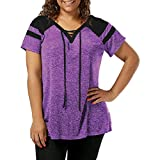 Short Sleeve Tee Blouse for Women,Amiley Women Patchwork Plus Size Short Sleeve Top Shirt Drawstring V Neck Casual Blouse (X-Large, Purple)