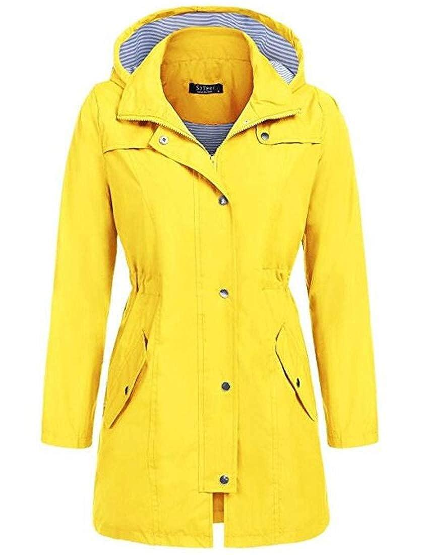 Yellow KLJR Women Rain Jacket Mid Length Windbreaker Hoodie Waterproof Trench Coat