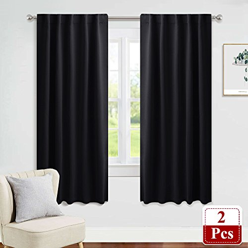 PONY DANCE Blackout Curtains Window - Nursery Panels Thermal Insulated Window Drapes Back Tab/Rod Pocket Light Block Curtain Panels for Bedroom, 42-inch Wide by 63-inch Long, Black, 2 PCs