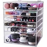 Display4top 6 Tier Large Acrylic Cosmetic Makeup Organizer and Jewelry Storage Display Case with 5 Drawers,Removable Divider,Easy Clean Acrylic.