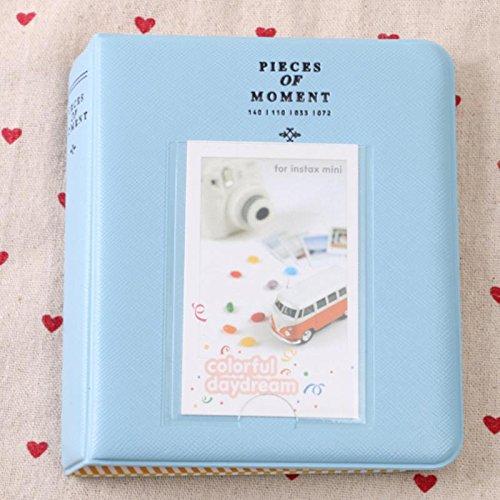 Cream Mini Photo Album - 64 Compartments Mini Size Photo Album Sky Blue