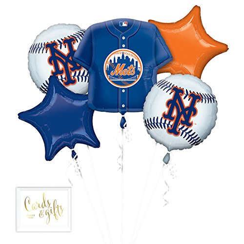 Andaz Press Balloon Bouquet Party Kit with Gold Cards & Gifts Sign, New York Mets Baseball Themed Foil Mylar Balloon Decorations, 1-Set -