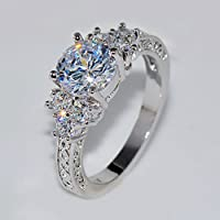 phitak shop 5.80/ct Lab diamond White Sapphire Wedding Ring 10KT White Gold Jewelry Size4-12 (12)