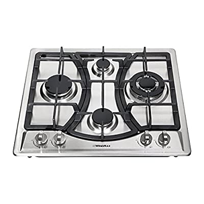 """Windmax 23"""" Curve Stainless Steel 4 Burner Stove NG/LPG Hob Cooktops Cooker"""