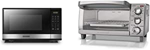 BLACK+DECKER EM031MB11 Digital Microwave Oven with Turntable Push-Button Door, 1000W,1.1cu.ft, Stainless Steel & 4-Slice Toaster Oven with Natural Convection, Stainless Steel, TO1760SS