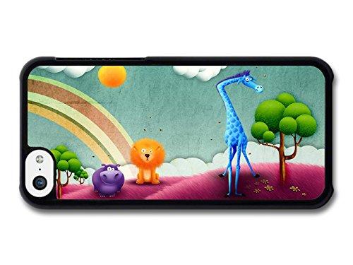 Animal Kingdom Giraffe Hippo & Lion Illustration coque pour iPhone 5C