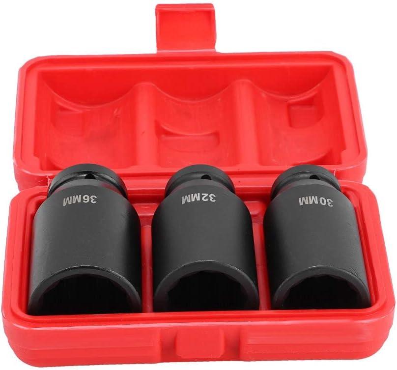 3 boquillas de rueda de 12 caras casquillo de tuerca de buje de 30 mm 36 mm para coche garaje o taller Casquillo de impacto de 1//2 32 mm