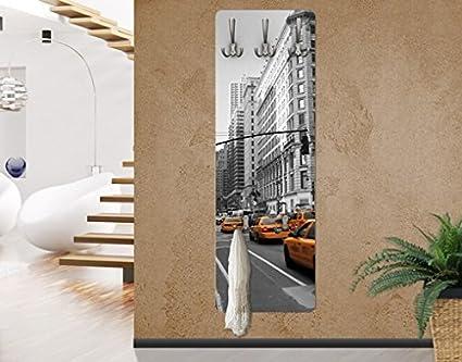 WTD - Appendiabiti da parete con scorcio di taxi a New York