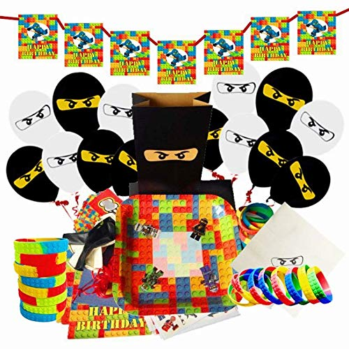 Merchant Medley Lego-Inspired Building Bricks and Blocks Party Supplies Pack Bundle for 10 Guests Plates Wristbands Stickers Temporary Tattoos Napkins Balloons Gift Bags Banner]()