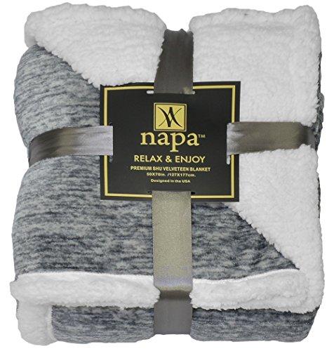 (Napa Sherpa Throw Blanket Grey Snow 50