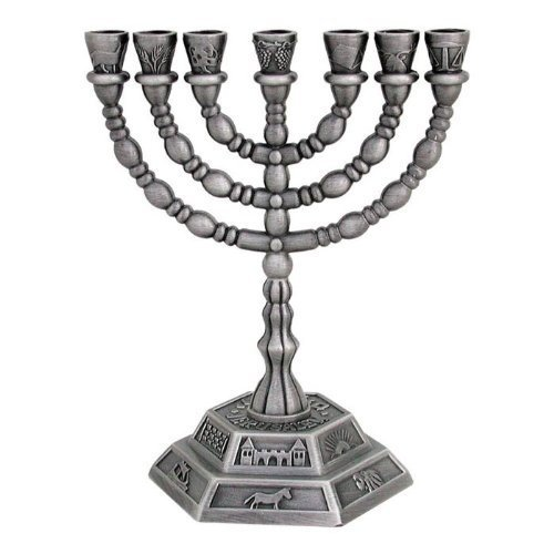 (Menorah - Seven Branch Menorah, Pewter 7 Branch Candle Holder by Rimmon Judaica )