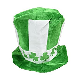 St Patricks Day Stove Pipe Top Hat Costume Party Felt - White