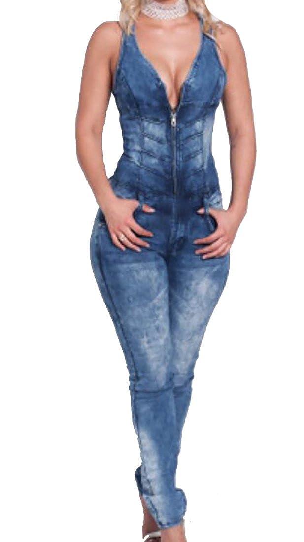 MU2M Women Wide Leg Pants Long Sleeve V Neck Wrap Romper Jumpsuit