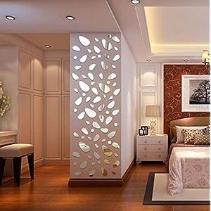 Quartly 12Pcs 3D Mirror Vinyl Removable Wall Sticker Decal Home Decor Art DIY (Silver)
