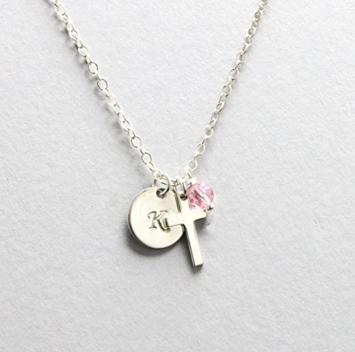 God Daughter Gift, Cross Initial Birthstone Necklace, Sterling Silver, Baptism or Confirmation Gift, First Communion Gift for Little Girl Cross Necklace -