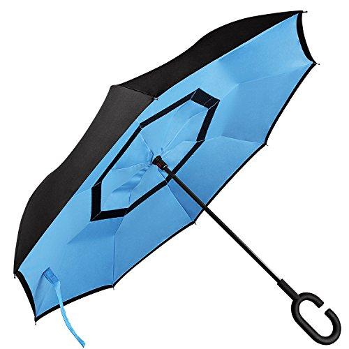 FEEMIC Durable Layer Inverted Umbrella -Windpro...