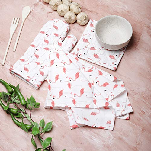 Kitchen Linen Set Consists of a Oven Mitt,Pot Holder & Kitchen Dish Towel Made of 100% Cotton with Heat Proof Quilt Ideal 3 Piece Gift Set by Mermaidia-White & ()