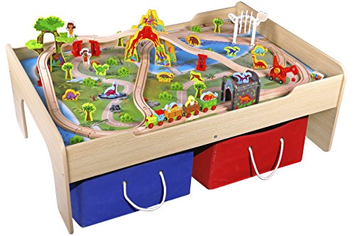 Pidoko Kids Wooden Multi Activity Play Train Table, Natural - For Boys & Girls - Dinosaur Edition - Includes Two Storage Bins - Perfect for Train Sets, Blocks, Arts & Crafts, and other Toddlers Toys