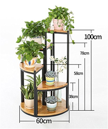 Giow Outdoor Herb Flower Plant Stands American Solid Wood Floor Flower Pot Shelf Corner Flower Rack Balcony Living Room Flower Pot Rack Plant Stnd Indoor and Outdoor Use Vintage Style (Size : Pa