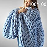 BigFamily Knitted Wool Blanket Hand Woven Plaid Sofa Bed Bedding Cover Case Handmade Soft