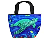Lunch Bag, Lunch Tote with Matching Zipper Charm - Animals, Full Insulated (Sea Turtle - Wisdom)