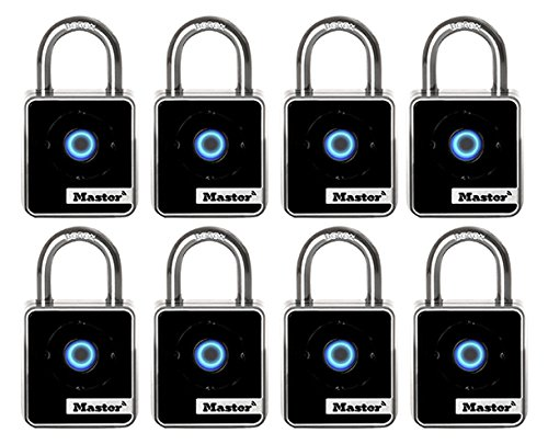 Master Lock 4400D Bluetooth Indoor Padlock with Easy Backup Keypad Entry, 8-Pack,