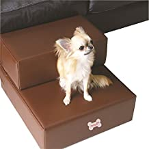 Pu Leather Pet Do Cat Stairs Steps For Small Dog Foldable Dog Mat Cushion Bed Steps Ramp With Detachable Cover Pet Product (S, Coffee)
