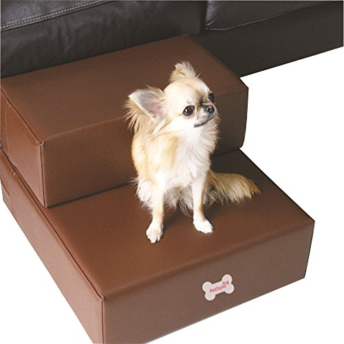 Pu Leather Pet Do Cat Stairs Steps For Small Dog Foldable Dog Mat Cushion Bed Steps Ramp With Detachable Cover Pet Product (S, Coffee) by FLADorepet