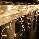 70 LED Icicle Lights 7.5' White Wire - Outdoor Christmas Lights, Dorm Room Accessories Lights, Outdoor Christmas Decorations, Outdoor Holiday Icicle Lights (5mm Twinkle, Warm White)