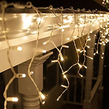 Amazon 70 led icicle lights 75 white wire outdoor christmas 70 led icicle lights 75 white wire outdoor christmas lights outdoor christmas decorations aloadofball Choice Image