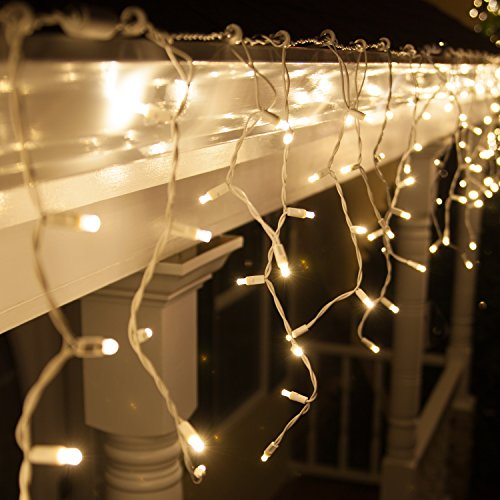 70 5mm Warm White LED Icicle Lights, 7.5' on White Wire, White Christmas Lights Outdoor Icicle Christmas Lights Wedding Lights Party Home Bedroom (5mm Lights, Warm White)