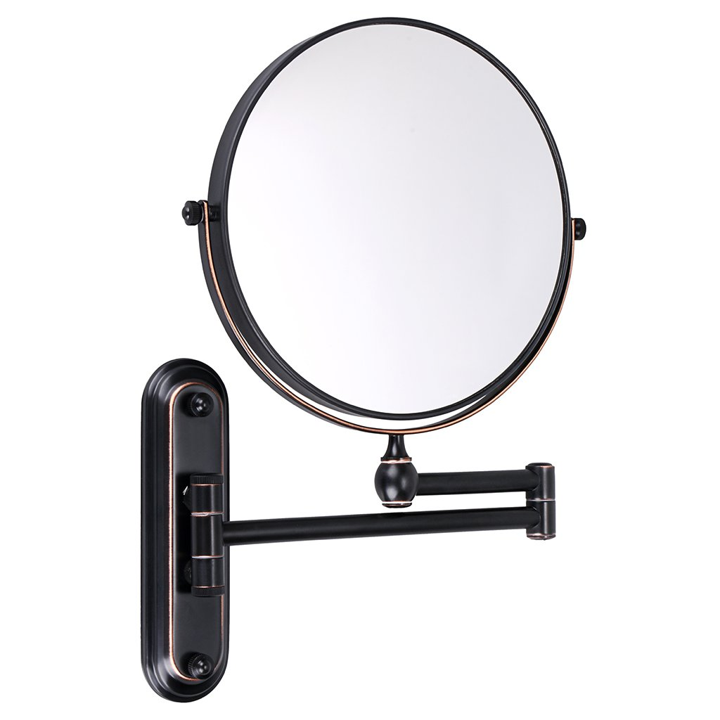 Sumnacon 8 Inch Double-Sided Swivel Wall Mount Vanity mirror, 10x Magnification 360°Swivel 12'' Extension Two-Side Retractable Makeup Mirror Oil-Rubbed Bronze Finish Bathroom Bedroom