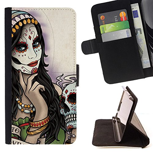 Planetar Colorful Pattern Flip Wallet Leather Holster Protective Skin Case Cover For SAMSUNG Galaxy S5 V / i9600 / SM-G900 ( Hipster Candy Skull Mexican ) - Hipster Candy