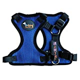 Ondoing Dog Nylon Harness Comfort Control Collar Padded Vest No Pull Easy Heavy Duty Harness Adjustable and Durable, Medium Blue